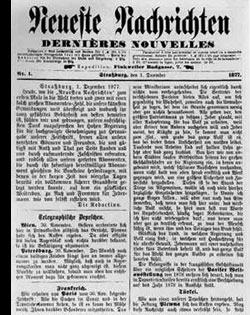 "Titelseite der Erstausgabe der Straßburger ""Neuesten Nachrichten"" (Dernières Nouvelles d'Alsace), 1. Dezember 1877"